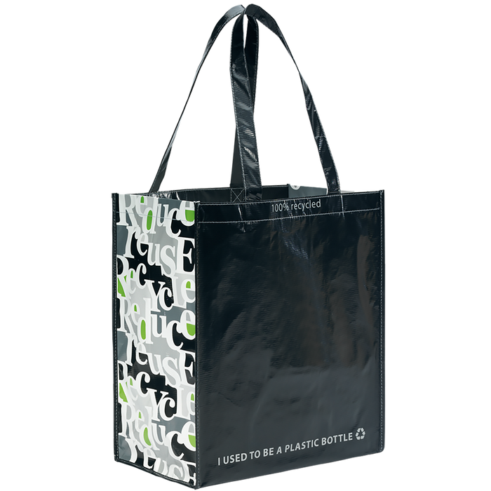 Black PET Pattern 1766 Green Recycled Tote