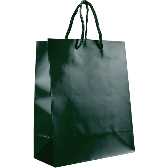 Hunter Green Small Glossy Shopper Bag